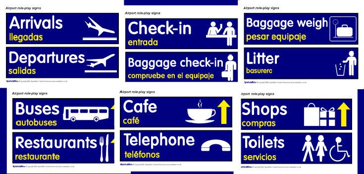 Arrivals, to three gates (preregistered, new registrations and preschool), Departures, Check-in (three gates), can also do airport-style signs for activities ...