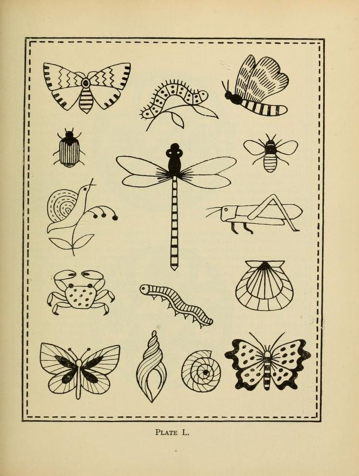 An vintage embroidery pattern book featuring fish, birds, insects, animals, monograms and designs.