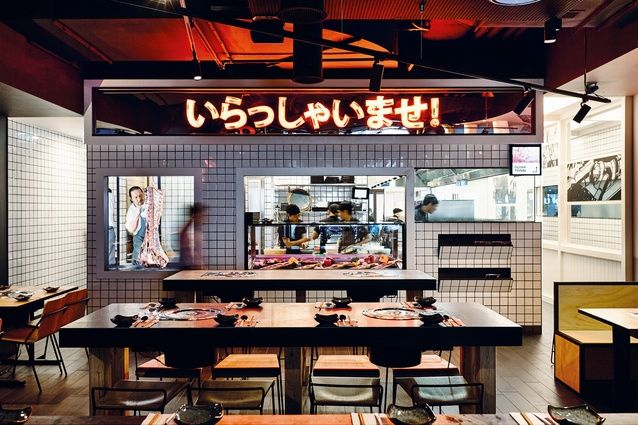 Tetsujin's barbecue grill area celebrates the smells, flames and sounds of barbecuing.