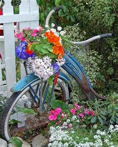 blue vintage bike w/ flowers