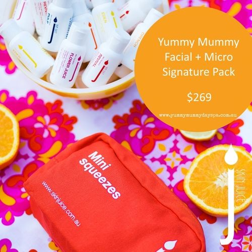 YUMMY MUMMY FACIAL + MICRO SIGNATURE PACK  $269.00 Start off your Yummy Mummy Facial experience with a 30 minute back, neck, and shoulder massage to help get you super relaxed and finish with a tailored facial and mask for your skin type to help leave you glowing.  PLUS get a MICRO Signature Pack from Skin Juice! Includes the 'refillable' HERO products in travel pack size to help CLEAN + BALANCE + REPAIR + PROTECT.