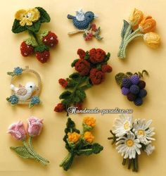 Букетики цветов. Вязаные крючком украшения (1)