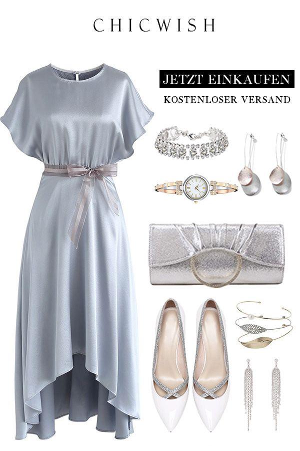 Twilight Or Dawn Asymmetrisches Satinkleid In Gold Modestil Elegantes Outfit Schlichte Mode