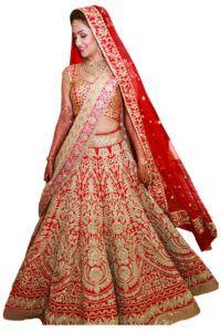 Red Raw Silk Semi-stitched Lehenga