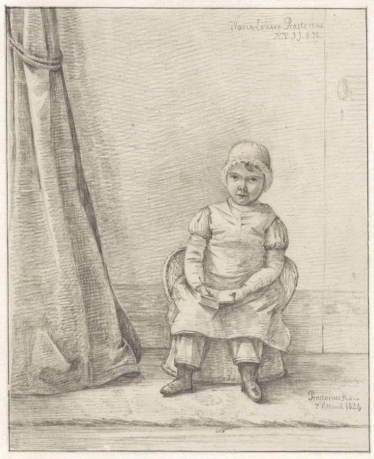 Pieter Ernst Hendrik Praetorius | Portret van Maria Louisa Praetorius als kind, Pieter Ernst Hendrik Praetorius, 1824 | Portret van Maria Louisa Praetorius, 3 jaar en 8 maanden oud, zittend op een rieten stoeltje.