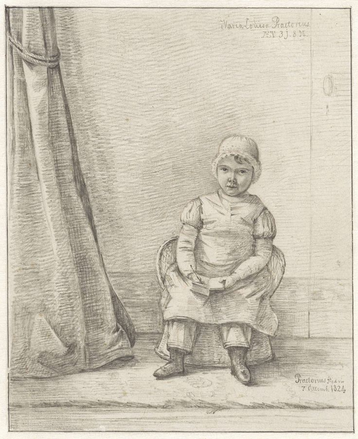 Pieter Ernst Hendrik Praetorius   Portret van Maria Louisa Praetorius als kind, Pieter Ernst Hendrik Praetorius, 1824   Portret van Maria Louisa Praetorius, 3 jaar en 8 maanden oud, zittend op een rieten stoeltje.