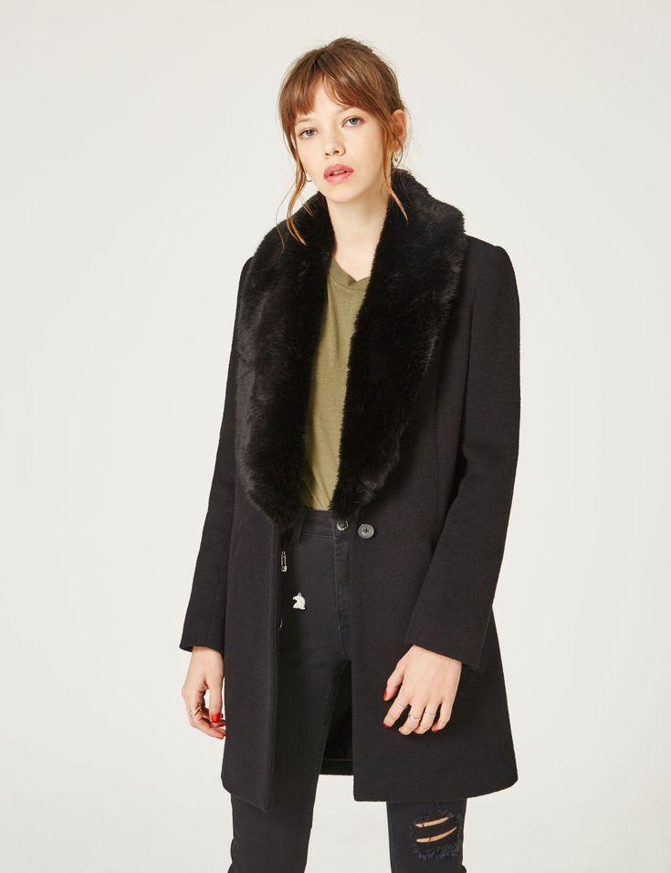 Manteau col fausse fourrure noir femme • Jennyfer