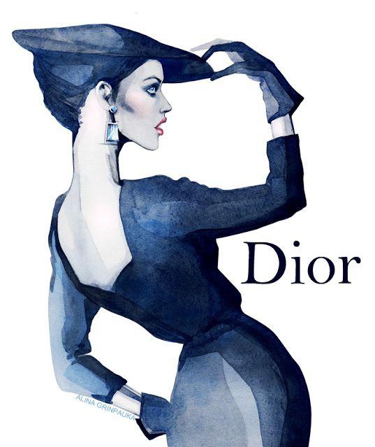 Fashion Illustration : Watercolor : ALINA GRINPAUKA, Dior