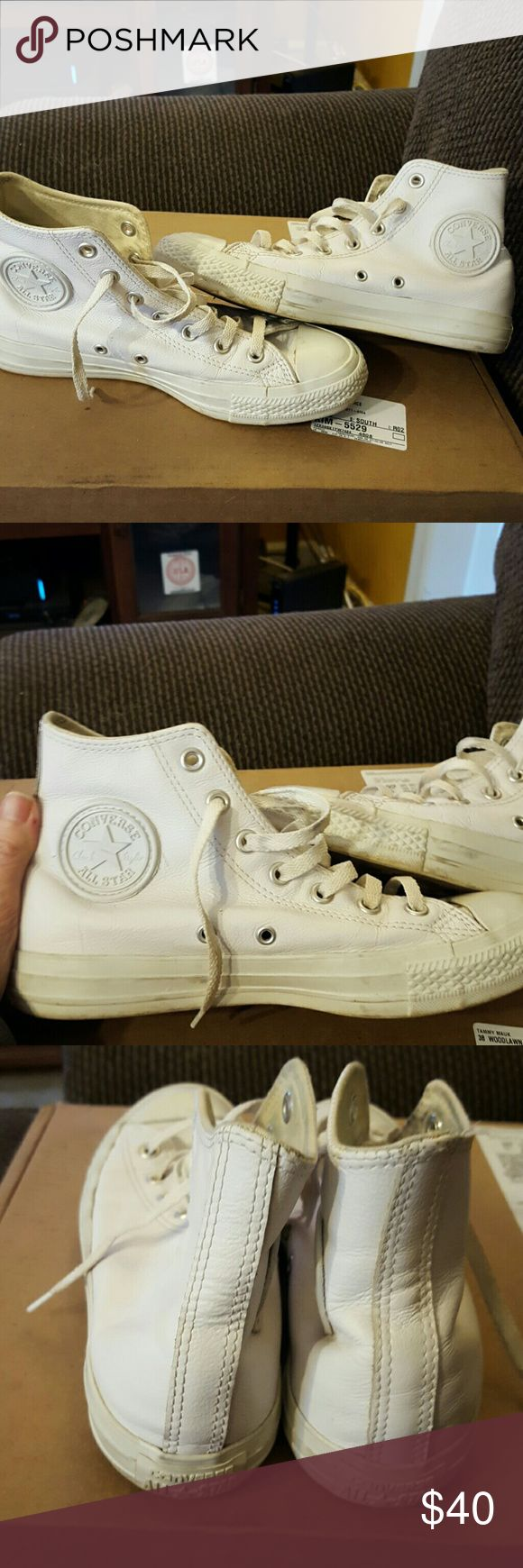 Leather Converse High Tops White Leather, they are in awesome condition. Like new. Converse Shoes Athletic Shoes