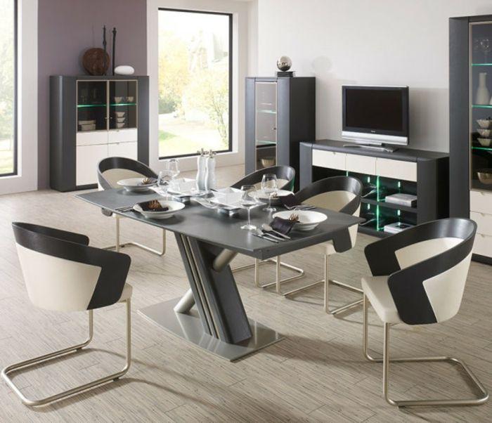 decoracion de comedores, mesa y sillas en blanco y negro, suelo laminado, alacenas, televisor