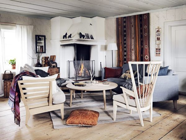 Scandinavian Interior, Rugged Log Cabin Vibes