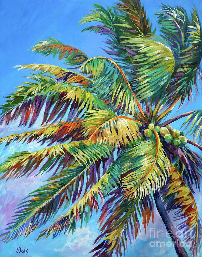 Palm Painting Brilliant Palm By John Clark In 2020 Palm Tree Drawing Palm Tree Artwork Palm Trees Painting