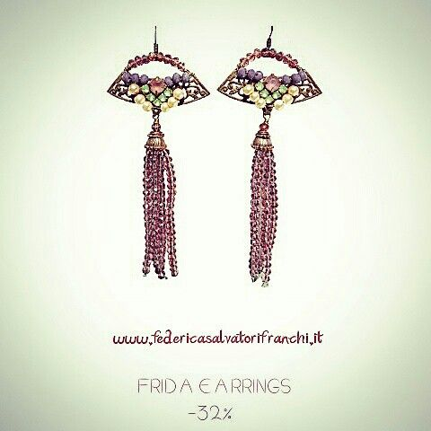Shop now Frida Earrings Jewelry made in Italy www.federicasalvatorifranchi.it  - 32% Embroidered filigree and crystal tassel