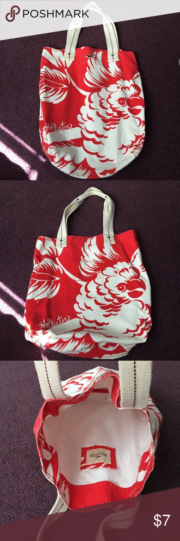 Hollister Tote Bag Hollister Tote Bag Coral & White With Parrot Bird Hollister Bags Totes