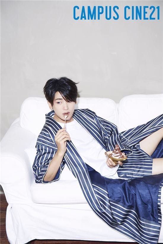 ZE:A's Hyungsik Gets Comfortable in His Pajamas with 'Campus Cine21'   Koogle TV