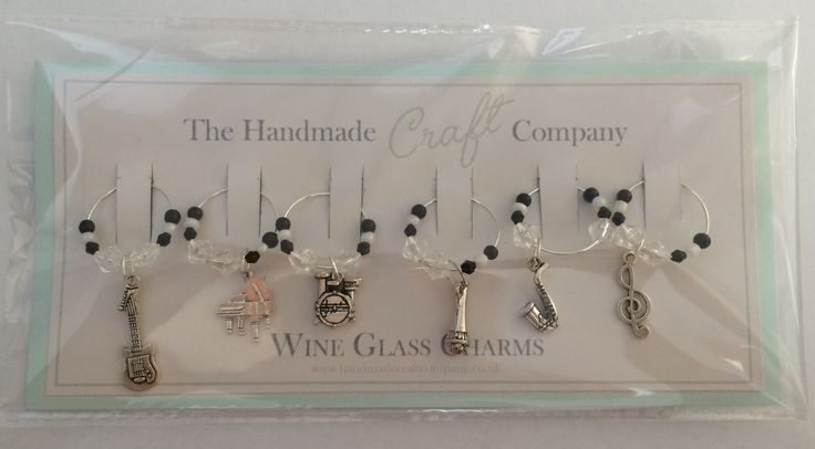 set of 6 music themed wine glass charms £8.50 - prettify and identify your glass