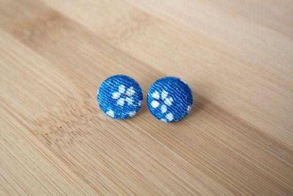Japanese kimono fabric post earrings  blue with by sarabamanda