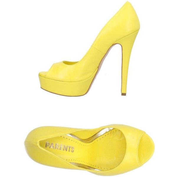 Parents Court (80.650 CLP) ❤ liked on Polyvore featuring shoes, pumps, yellow, open toe shoes, stiletto heel pumps, yellow pumps, open-toe pumps and yellow open toe pumps