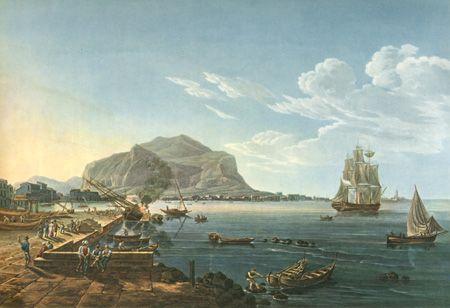 Der Hafen von Palermo. Peint d'après nature par Wilhelm Huber. Gravé par Franz Hégui