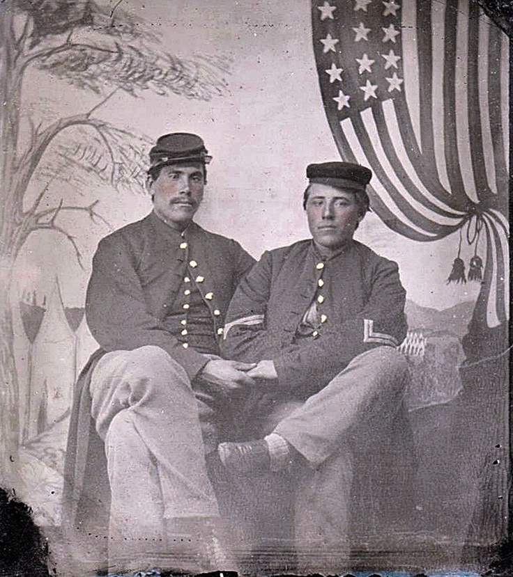Endearing tintype of two Troy, Maine 29th Infantry Civil War Cousins heading off to War.: Civil War