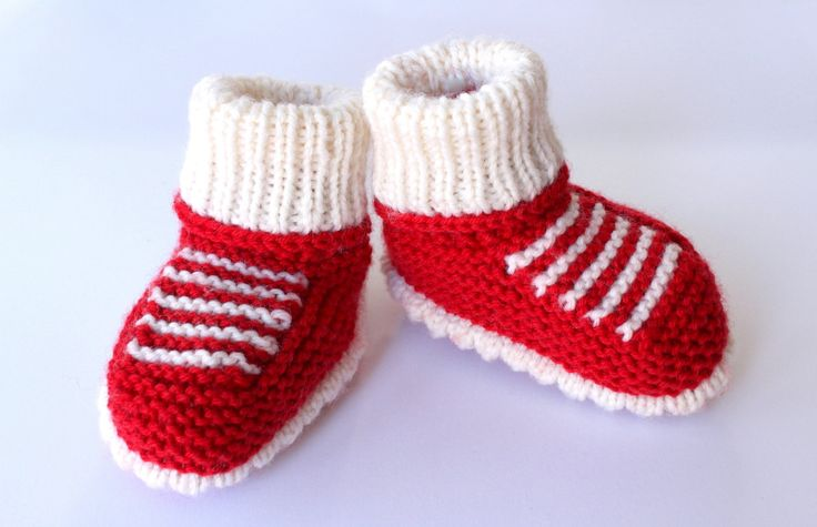 Baby Booties, Red Booties, Woollen Bootees, Hand Knit Booties, Baby Sneakers, Baby Shower Gift, Funky Baby Shoes, Red Baby Shoes by Pinknitting on Etsy
