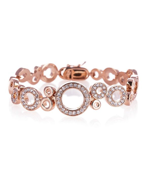 BRACELET ROSE GOLD CONSTELLATION CLEAR CUBIC ZIRCONIA CRYSTALS HAND-SET ONTO ROSE GOLD PLATED BASE METAL 4MM-17MM WIDTH 18CM - Jons Family Jewellers