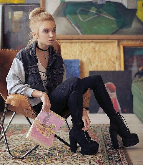Get this look: http://lb.nu/look/8705711  More looks by Ekaterina Normalnaya: http://lb.nu/normalnaya  Items in this look:  Denim Jacket, Choies Black Denim Pants, Jeffrey Campbell Shoes Black Platform Boots   #artistic #grunge #street