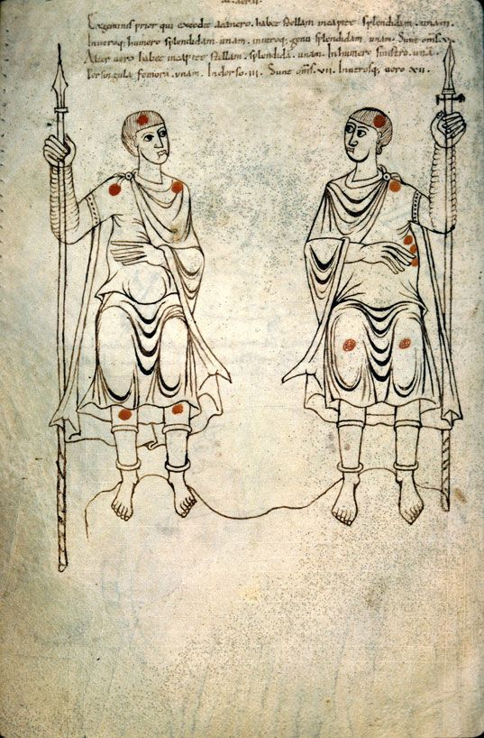 Illustrations depicting 10-11th Century French Costume & Soldiers from Dijon - Bibliothèque Municipale - ms. 448 Recueil d'astronomie, c.1000AD, France The Constellation Gemini