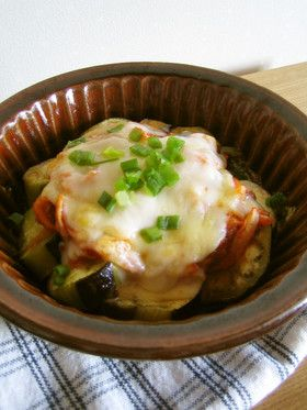 トースターで*茄子のキムチチーズ焼き