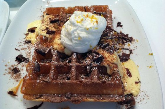 Waffles, 1400 S. Michigan Ave at Roosevelt.  Very tasty waffle cuisine.