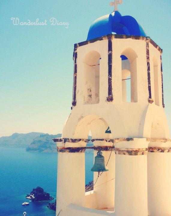 Travel Photography, Santorini Bell Tower & Ocean  #Ocean #Santorini #Greece #Oia #FineArt #Europe #OceanPhotography #EuropePhotography #FineArt #belltower #TravelPhotography #Travel #FineArtPhotography #WallArt
