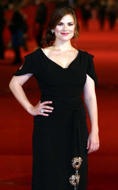 Hayley Atwell in Lucina Drape Dress with Cut Shoulders
