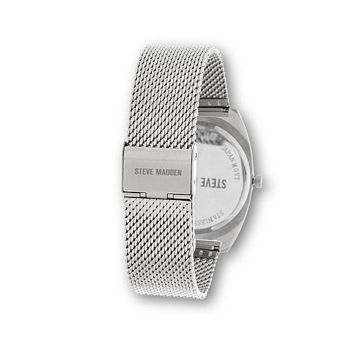Steve Madden Women's Geometric Pattern and Blue Dial Silvertone Mesh Bracelet Watch