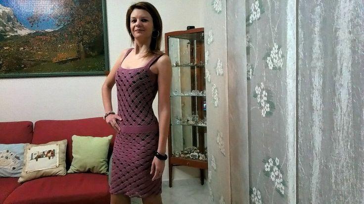 Vestito con spalline in cotone lilla