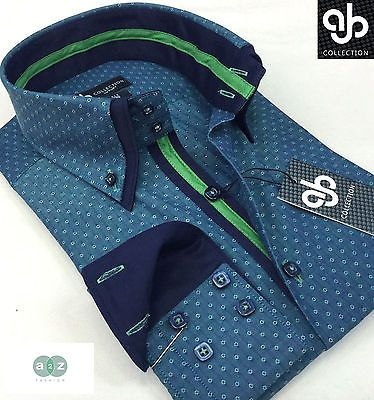 New Mens Formal Smart Green(s) Italian Design Double Collar Polka Slim Fit Shirt
