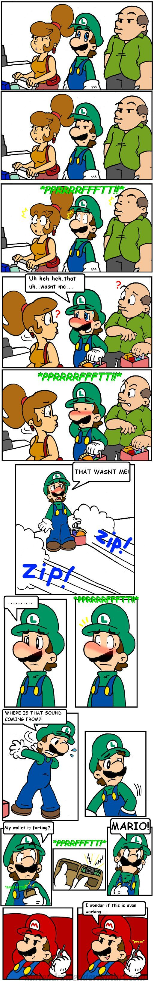 pranksters 4 by Nintendrawer on DeviantArt I love Luigi's face on the last panel with him in it XD
