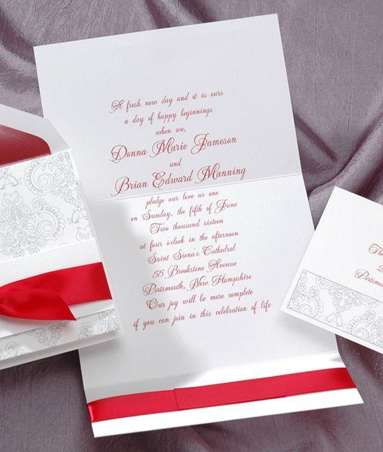 The Scrollwork On This Bright White Felt Invitation Is Charming In A Subtle  Shade Of Charcoal