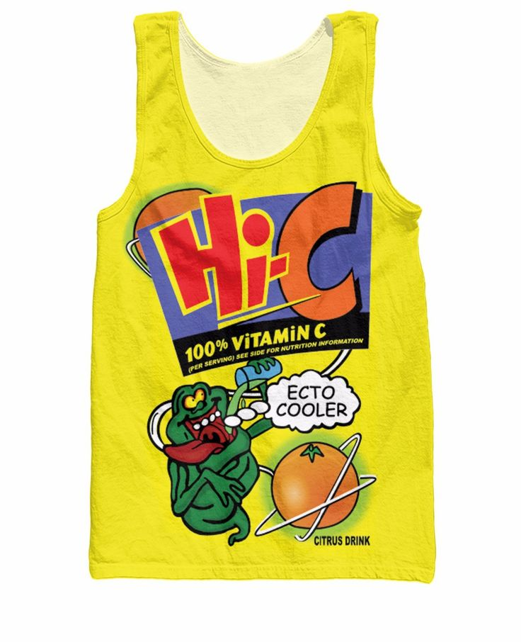 RuiYi Ecto Cooler Tank Top Real Ghostbusters character Slimer on the famous orange Hi-C drink 3d Print Vest Jersey Shirt  women #Affiliate