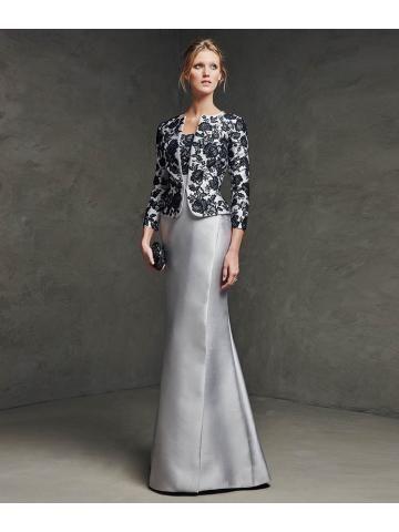 contrasterende gezicht ronde hals bandjes lijfje kant jas satijn kanten jurk