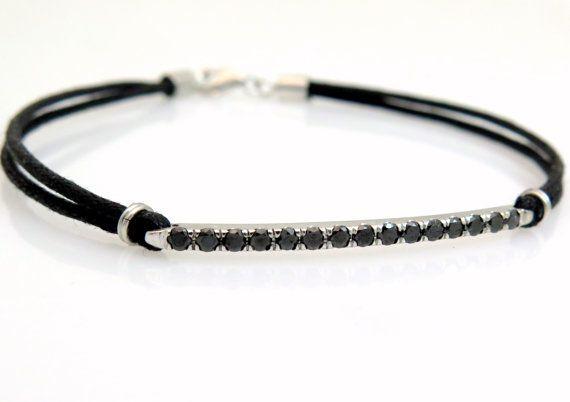 Black diamond bracelet, Pave diamond bracelet, Woven bracelet, 14k gold bracelet, White gold bracelet, Unique bracelet, Diamond bracelet