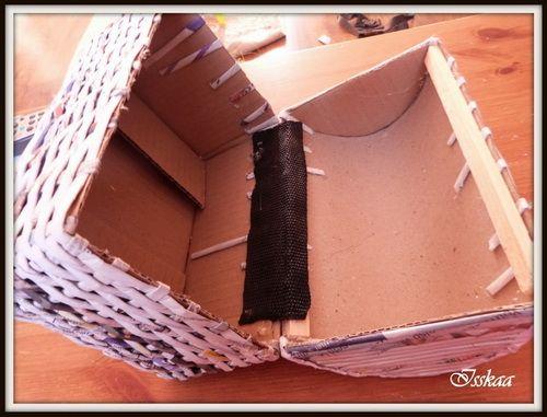 Самодельный сундучок из коробки своими руками, оплетание газетными трубочками (фото, мастер-класс)