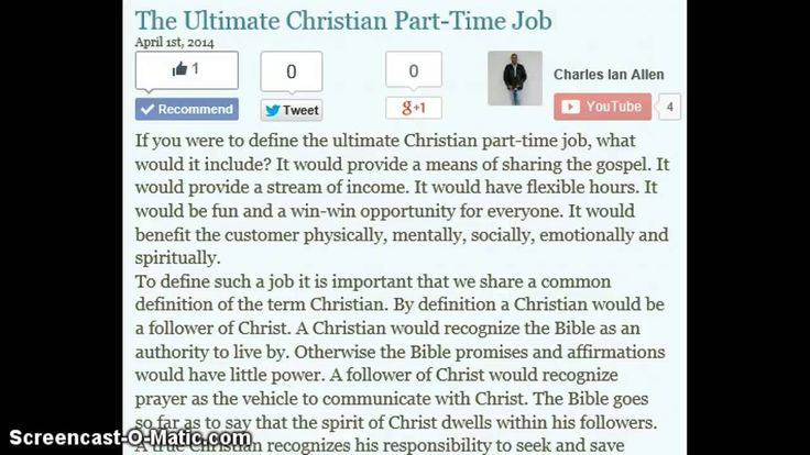 The Ultimate Christian Part-Time Job