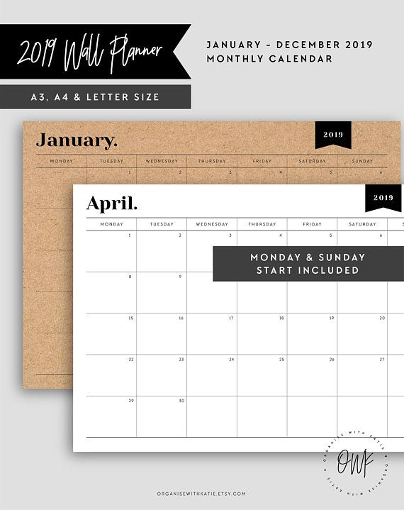 2019 Monthly Planner Wall Planner Big Calendar Large Wall