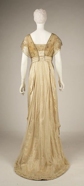 Evening dress (back view) Design House: House of Worth  Date: ca. 1913 Culture: French Medium: silk Accession Number: C.I.68.53.13