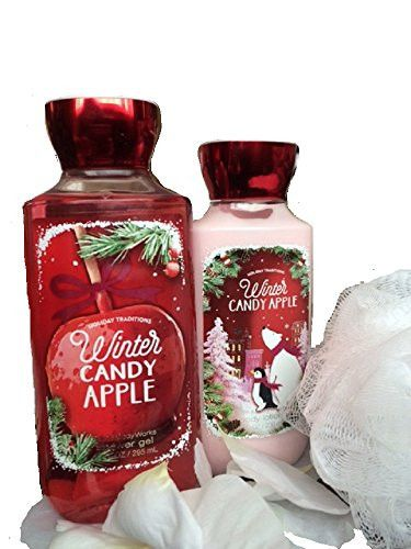 Bath & Body Works Winter Candy Apple Shower Gel and Body Lotion with Mini Shower Pouf