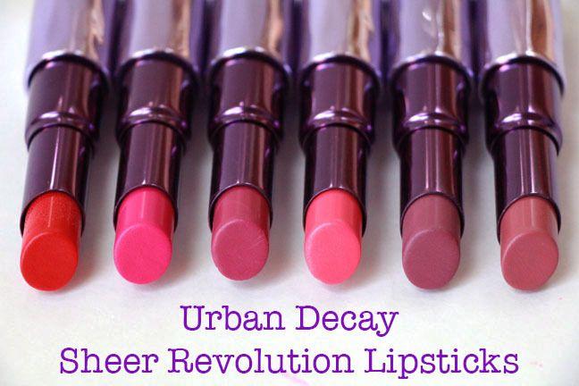 Lip swatches & comparisons of the Urban Decay Sheer Revolution Lipsticks ~ www.MakeUpGuineaPig.com