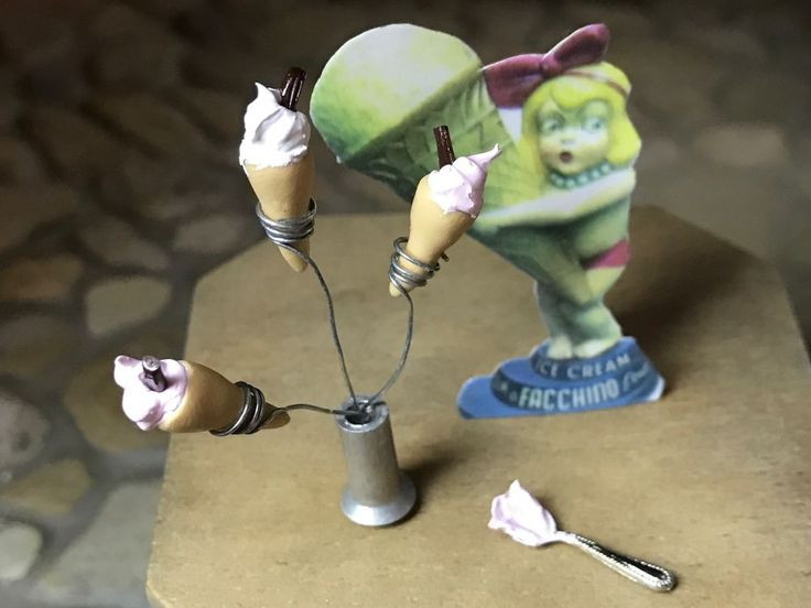 Vintage Miniature Dollhouse Artisan Counter Display Facchino Ice Cream GIRL