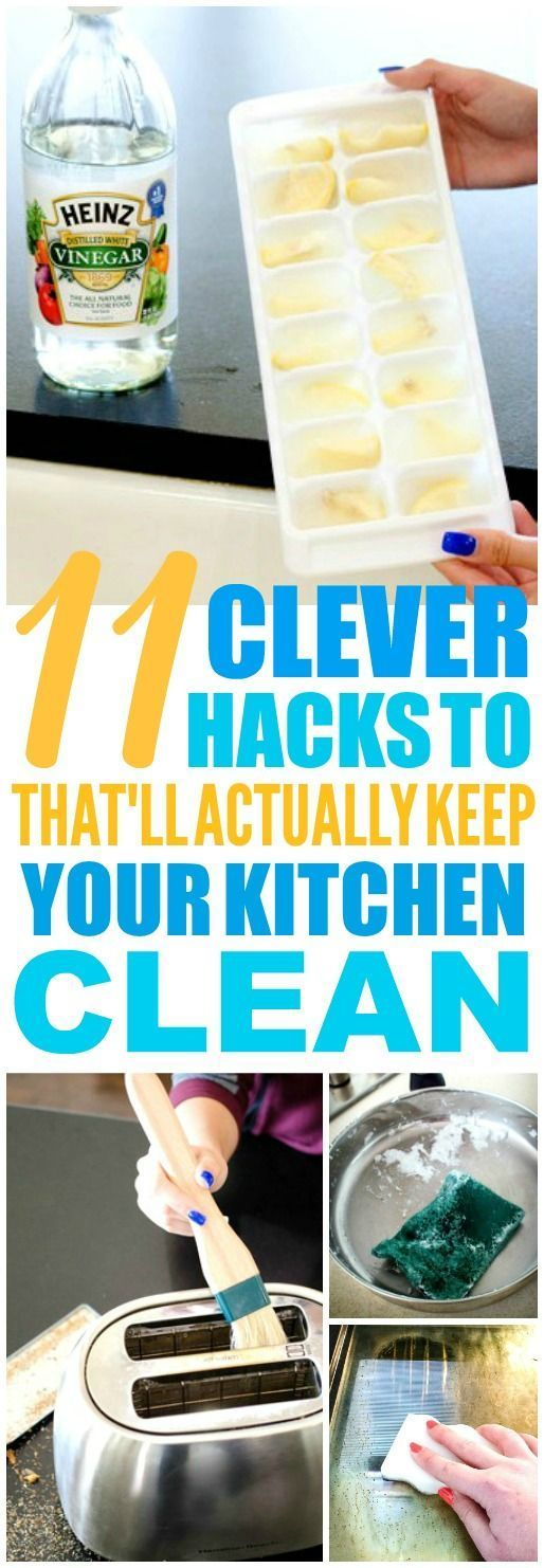 These 11 kitchen cleaning hacks and tips are THE BEST! I'm so glad I found these GREAT tips! Such great life hacks for keeping things clean! Definitely pinning!