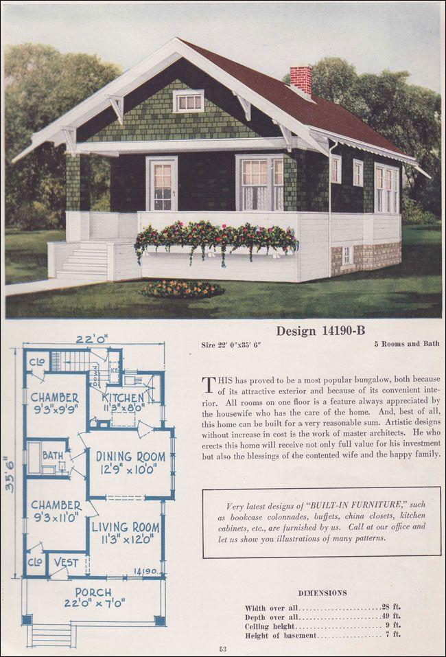 Bungalow cottage house plans 1925 c l bowes 14190b a for 1925 bungalow floor plan