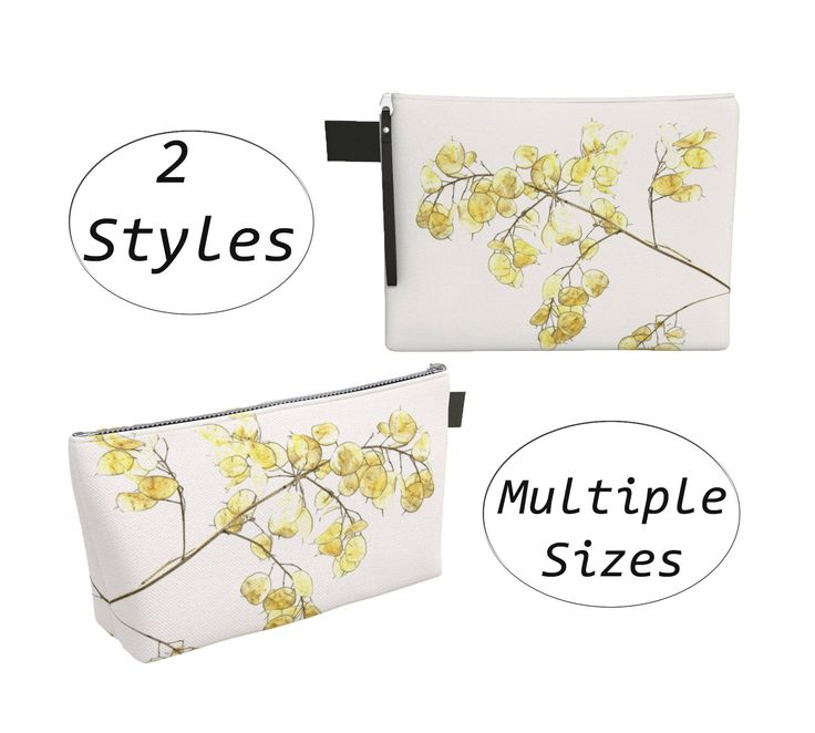 This stylish pouch features a botanical print of a Lunaria, also known as the Money plant or Silver Dollar plant. Use these pouches to contain your latest knitting project or other craft supplies, hold your toiletries or other items for travel, as a soft shelled dust cover for your laptop or tablet, or as a stylish clutch. #Botanical #Pouch #CarryAll, #Clutch, #Makeupbag #Diapersbag #Laptopsleeve #Gold #White by #WhimZingers on #Etsy #etsyshop  #etsyseller #smallbusiness